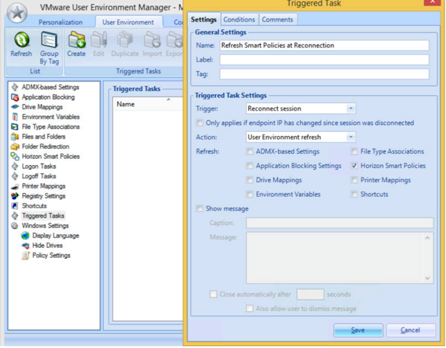 VMware User Environment Manager Managment console