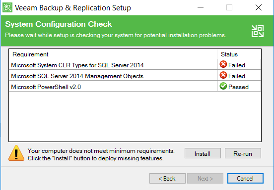 Veeam Backup and Replication System Configuration Check view