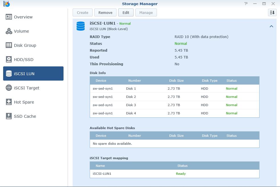 Storage Manager iSCSI LUN