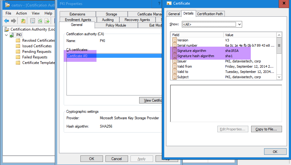 SHA256 hash algorithm signed with SHA1