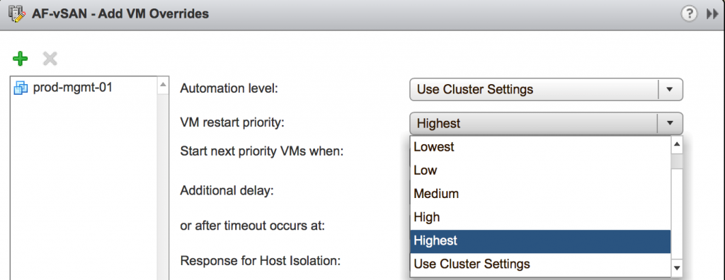 Add VM overrides use cluster settings highest