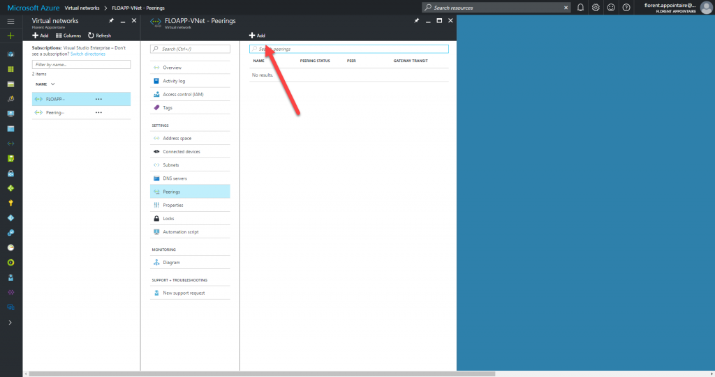Microsoft Azure Resource Manager virtual networks peering