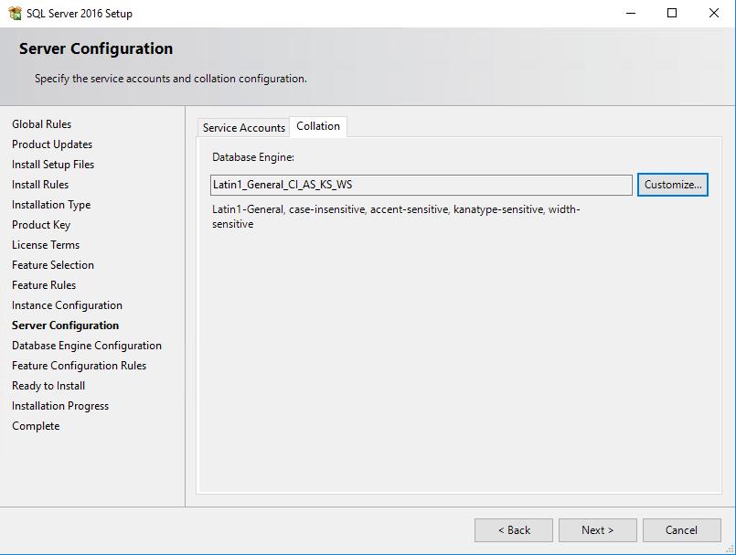 SQL Server 2016 Server configuration