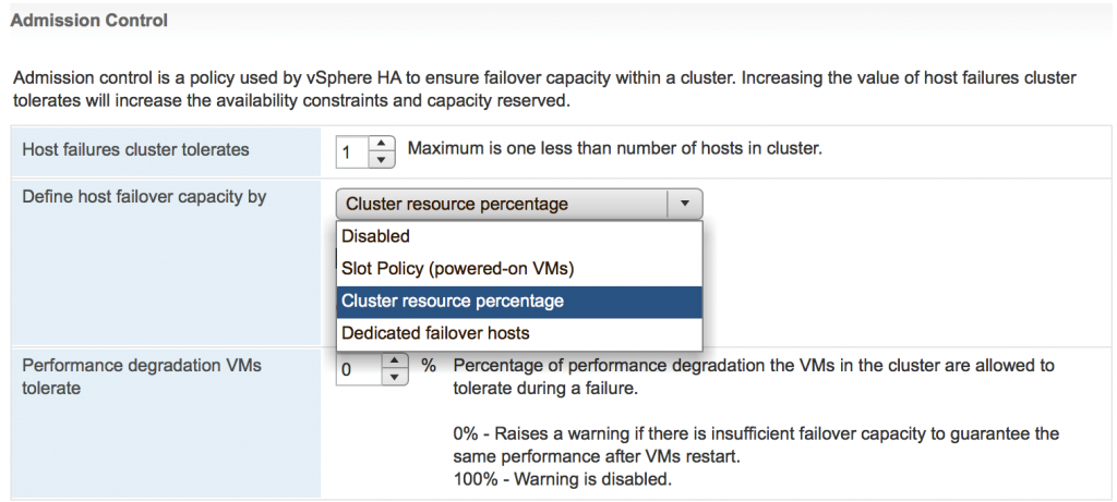 vSphere admission control cluster resource percentage