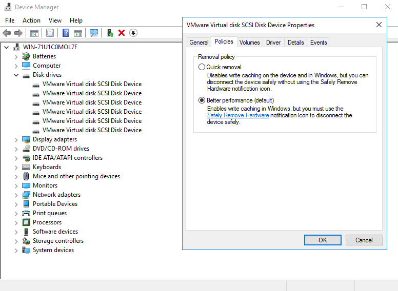 VMware virtual disk SCSI disk device properties