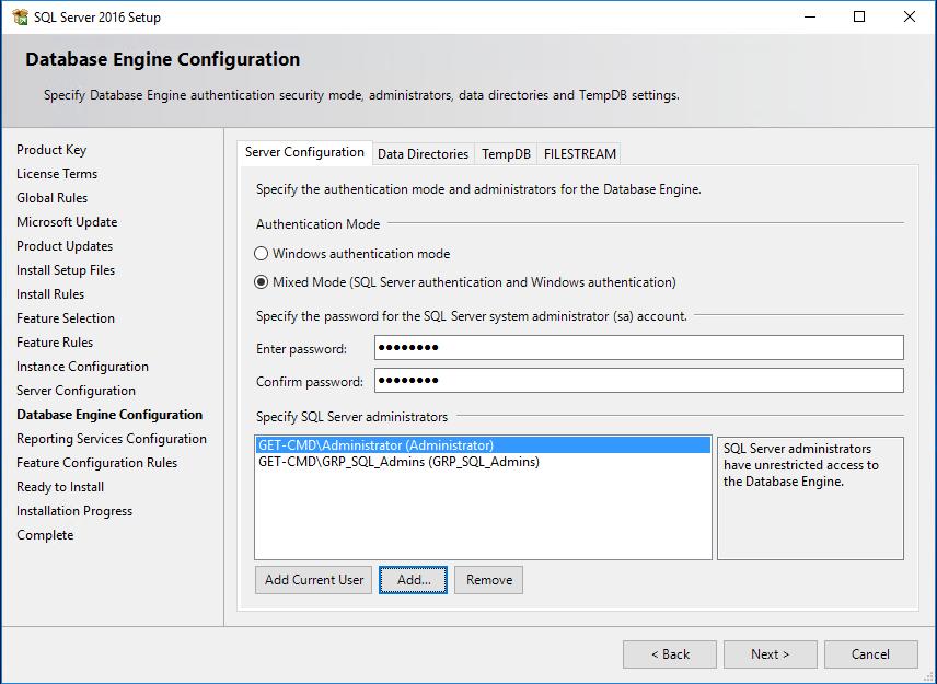 SQL Server 2016 Setup Database Engine Configuration