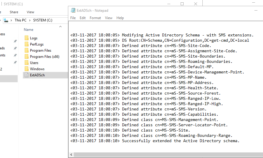 Successfully extended the Active Directory schema