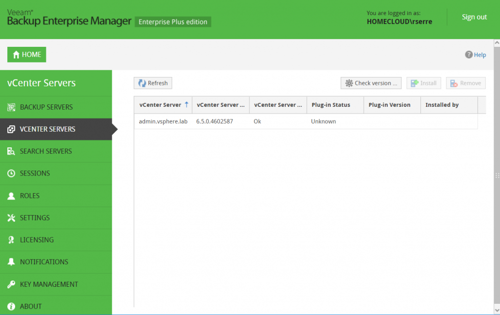 Veeam Backup Enterprise Manager vCenter servers