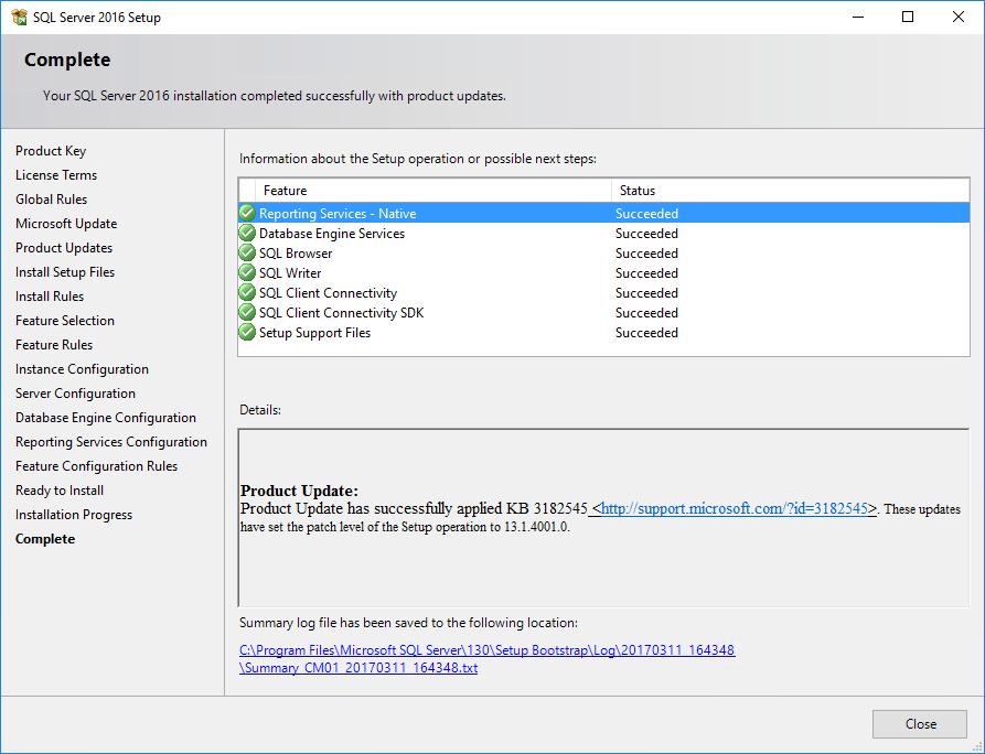 SQL Server 2016 Setup Complete
