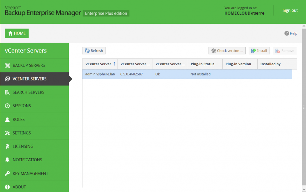 Veeam Backup Enterprise Manager install vCenter servers