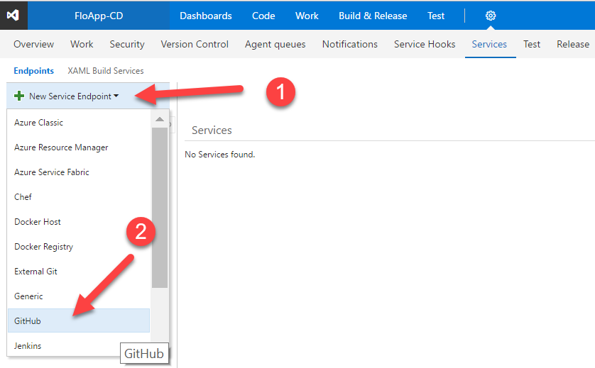 VSTS New Service Endpoint Github
