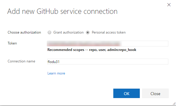 Add new GitHub service connection
