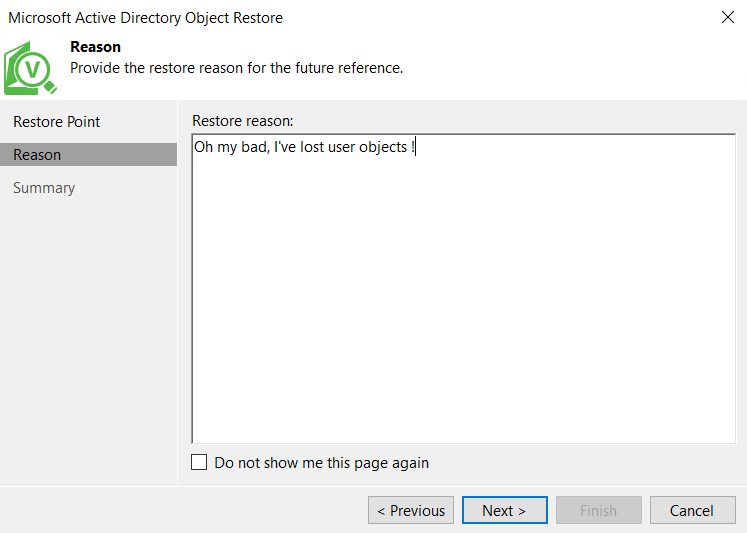 Microsoft Aztive Directory Object Restore Reason