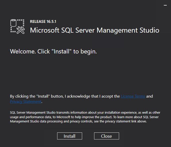 Microsoft SQL Server Managment Studio Release 16.5.1