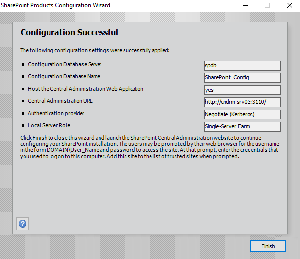 Sharepoint Products Configuration Wizard Configuration Successful