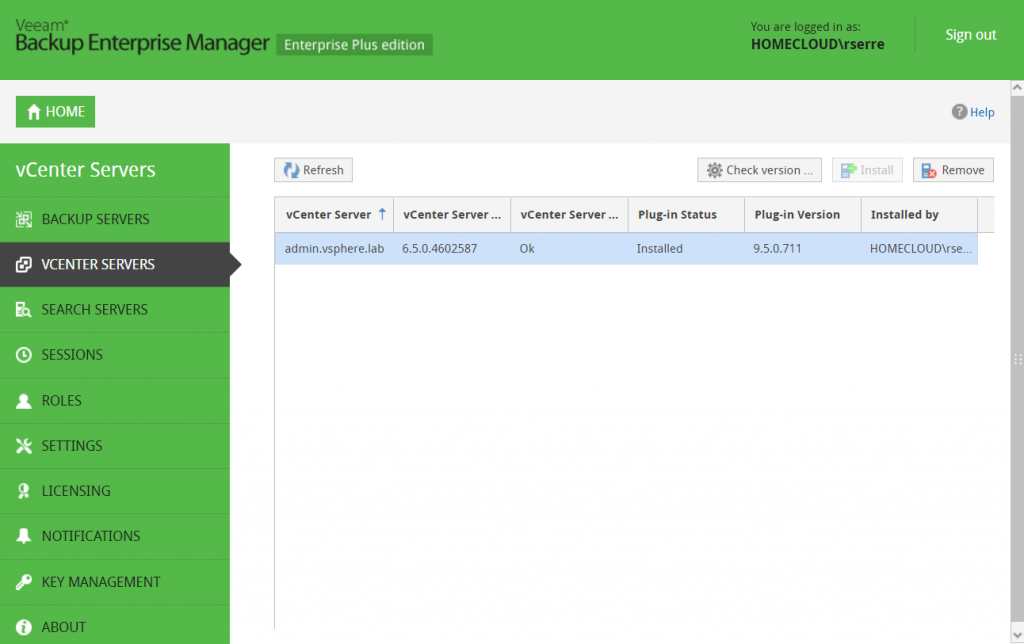 Veeam Backup Enterprise Manager vCenter Servers view