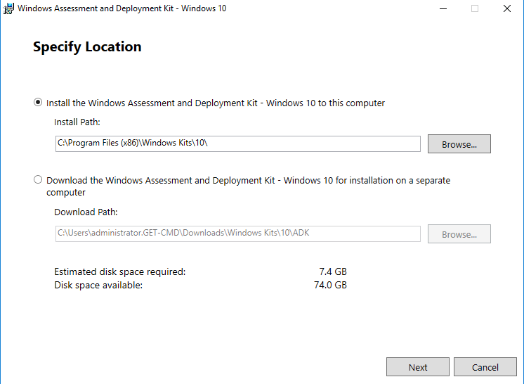 Windows Assessment and Deployment Kit Windows 10 Specify Location
