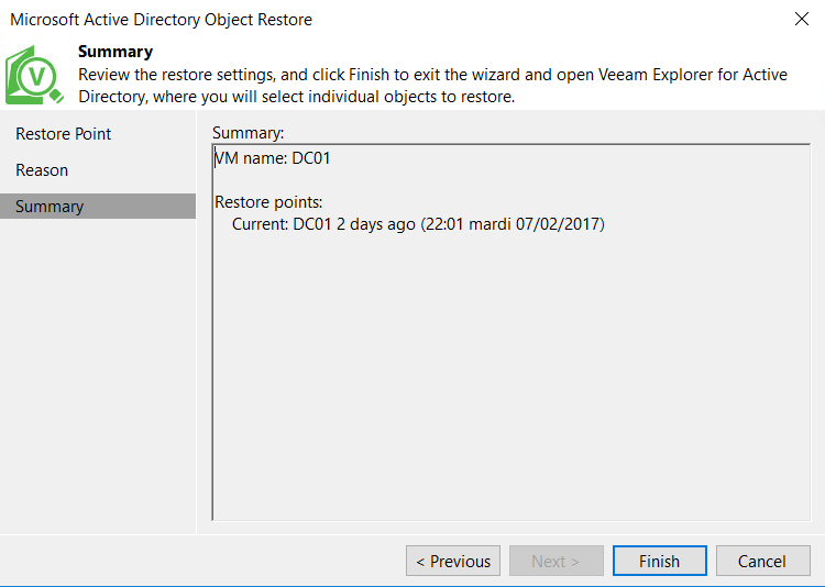 Microsoft Aztive Directory Object Restore Summary