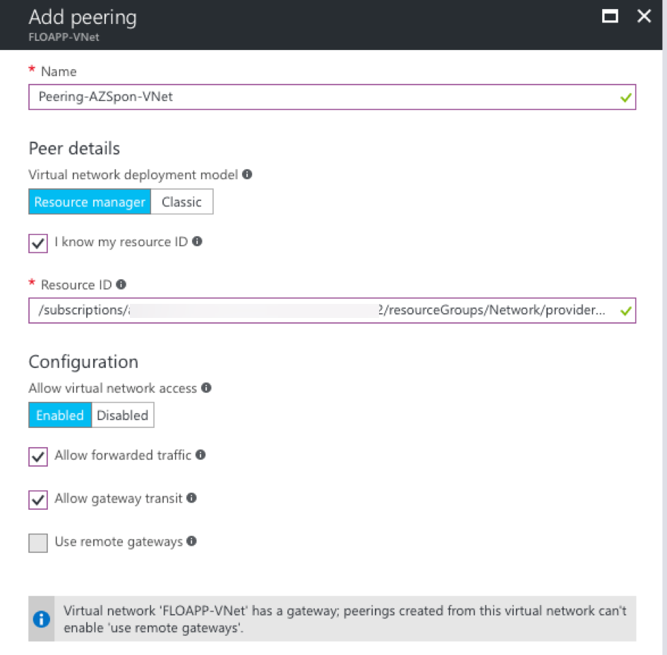 Microsoft Azure Resource Manager virtual networks add peering