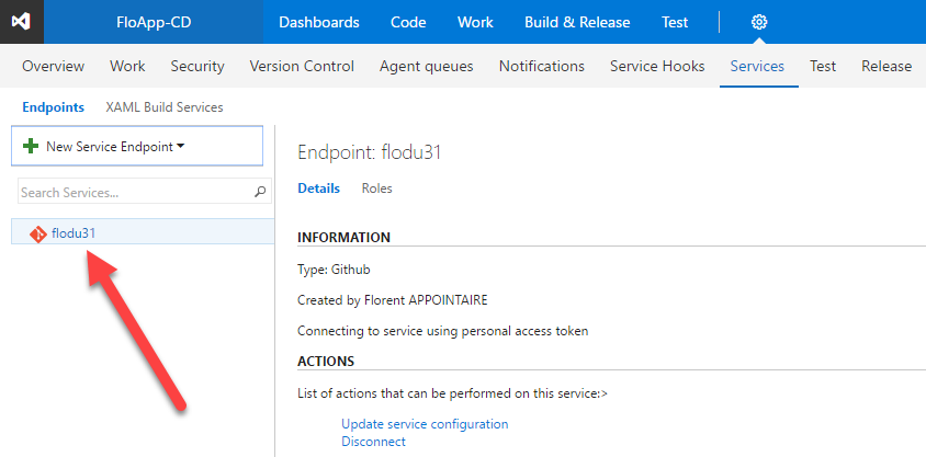 Visual Studio Team Services new service endpoint