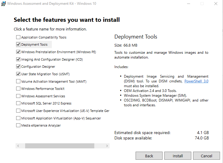 Windows Assessment and Deployment Kit Windows 10 Select the features you want to install