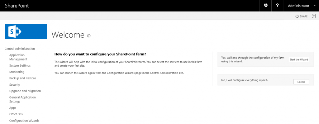 browser window with SharePoint Central Administration page