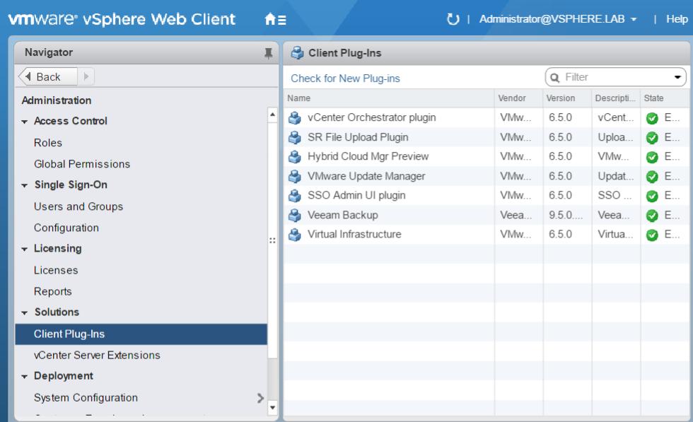 vmware vsphere web client plug-ins