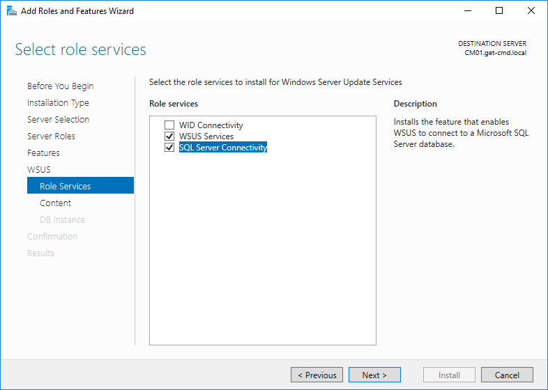 Add roles and Features Wizard select role services