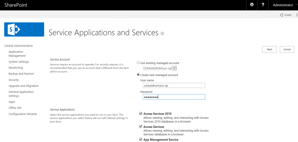 Sharepoint 2016 service application and services
