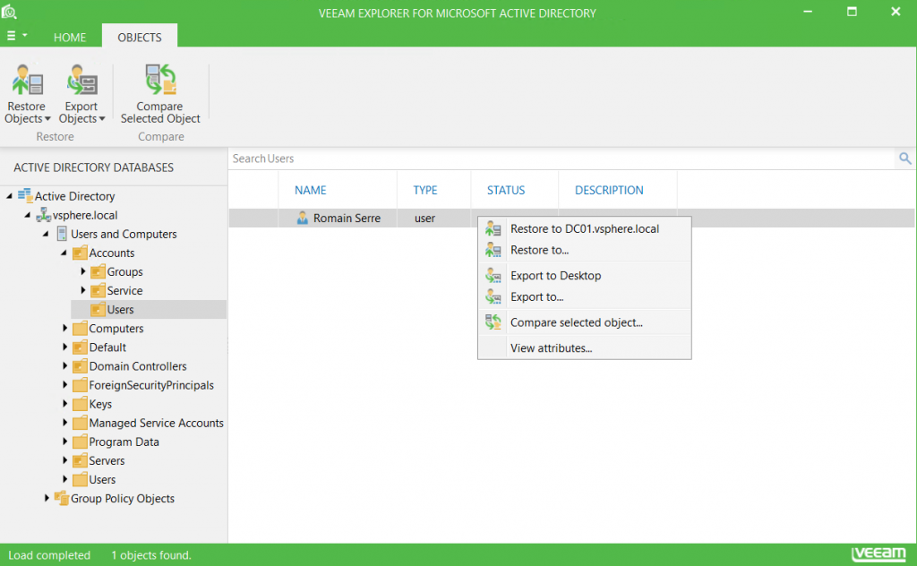 Veeam Explorer for Microsoft Active Directory users