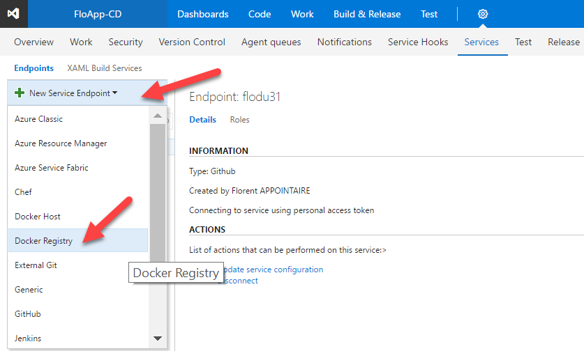Visual Studio Team Services new service endpoint docker registry