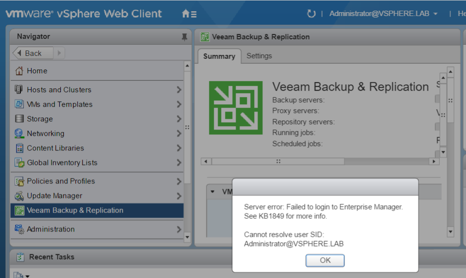 vmware vsphere web client Veeam Backup and replication server error