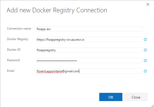 add new docker registry connection