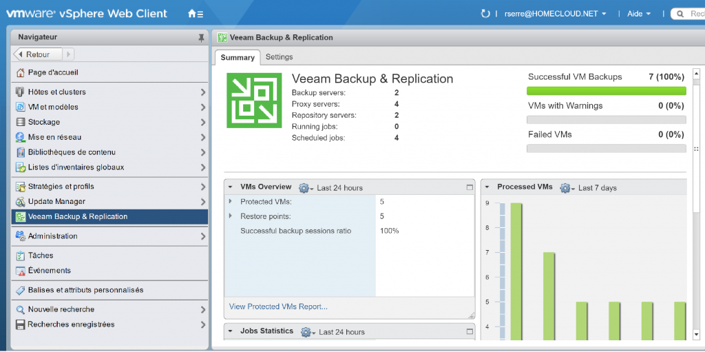 vmware vsphere web client veeam backup and replication summary