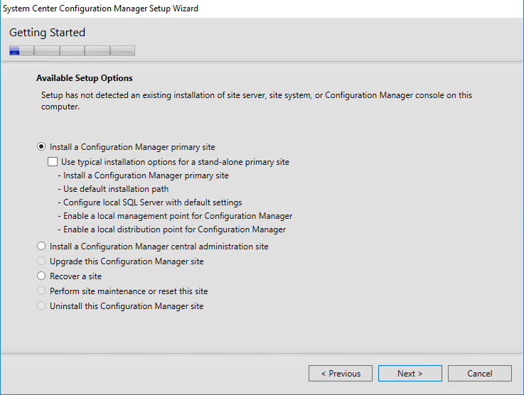 System Center Configuration Manager Setup Wizard Getting Started Setup Options
