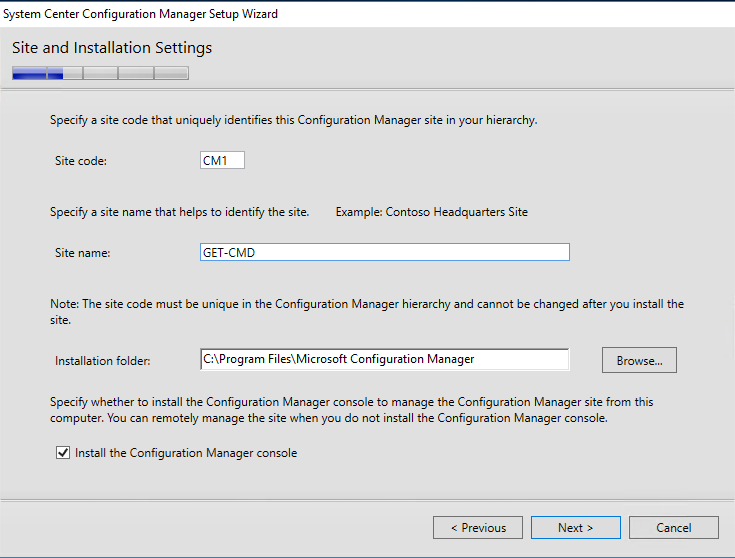 System Center Configuration Manager Setup Wizard Stite and Installation Settings