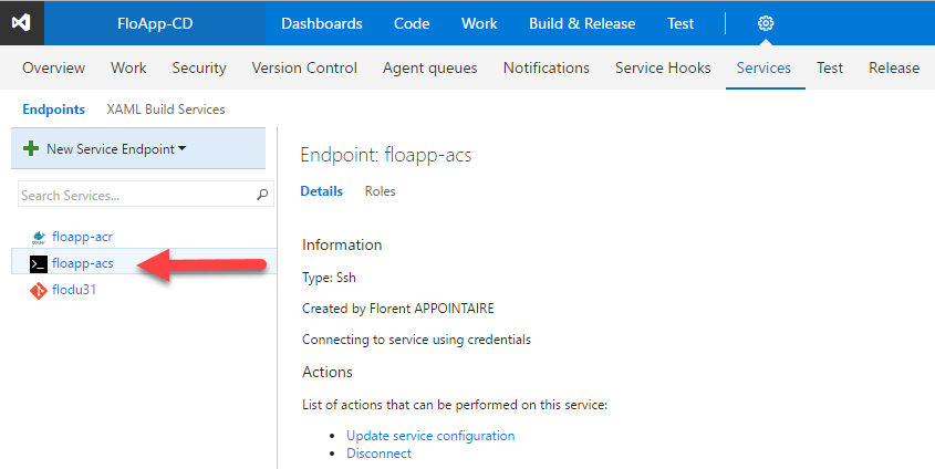 Visual Studio Team Services new service endpoint details