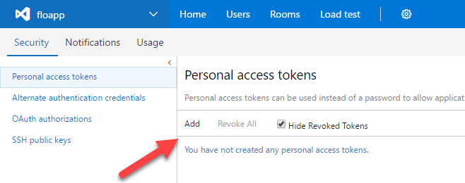VSTS agent personal access token