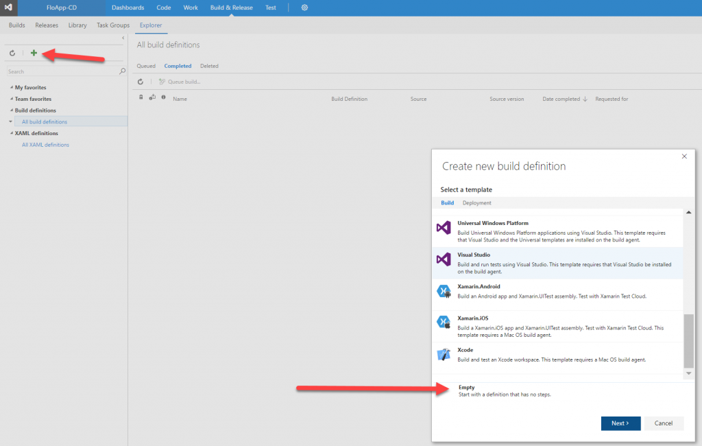Visual Studio Team Services create new build definition