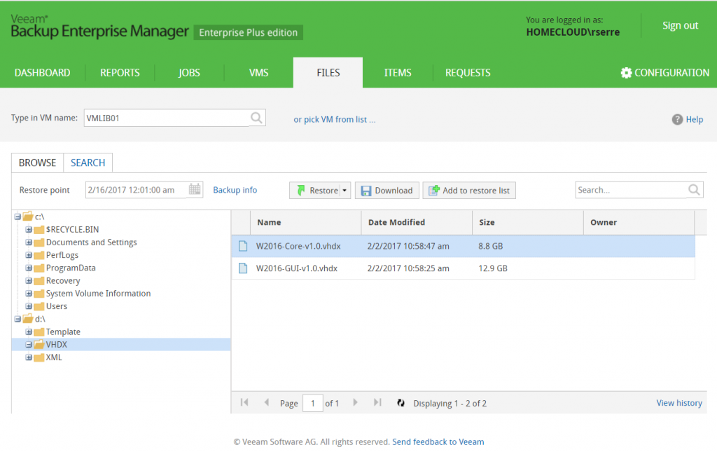 Veeam Backup Enterprise Manager files
