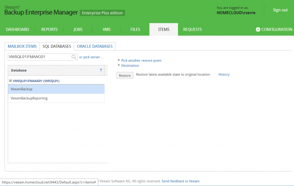 Veeam Backup Enterprise Manager items sql databases