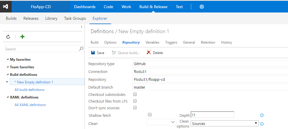 Visual Studio Team Services definition new empty definition