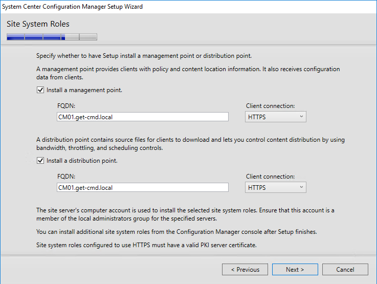 System Center Configuration Manager Setup Wizard Site System Roles