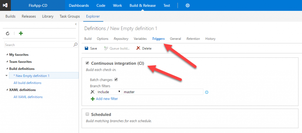 Visual Studio Team Services New empty definition Continuous integration