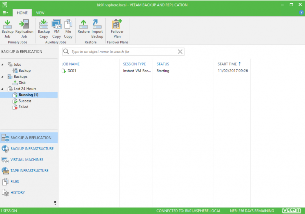 Veeam Backup and Relication running