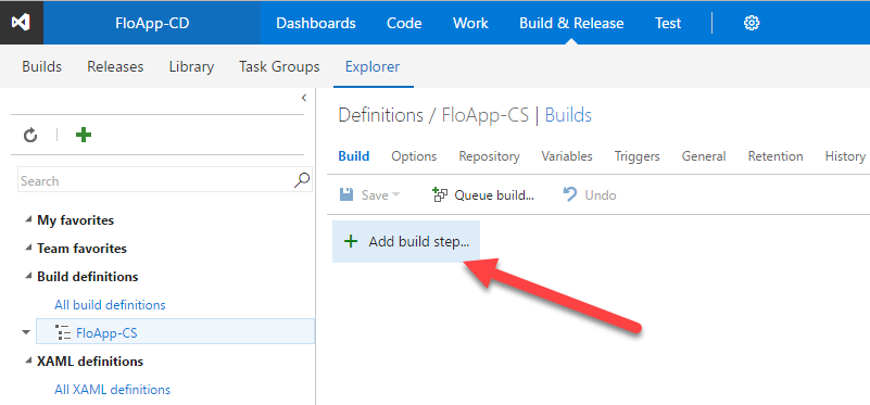Visual Studio Team Services definition add build step