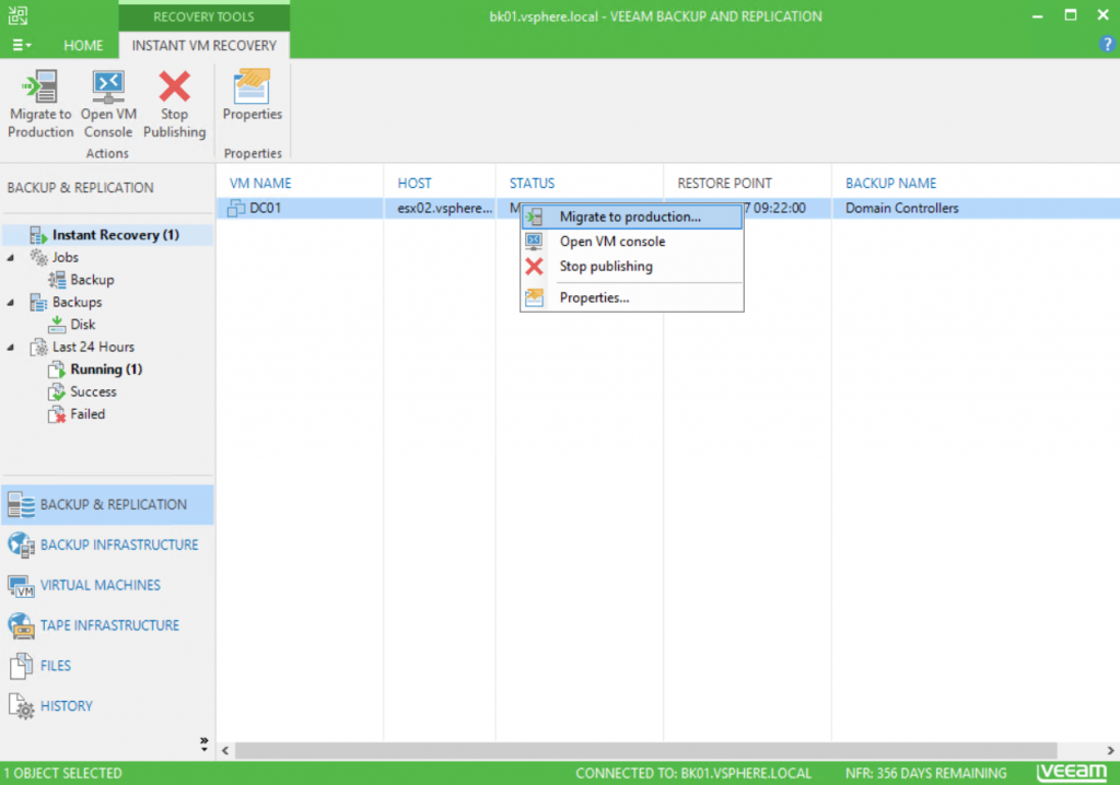 Veeam Backup and Replication recovery tools