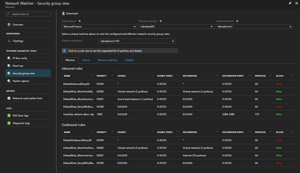 Azure Network Watcher Security group view