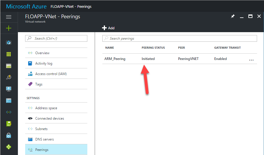 Microsoft Azure Resource Manager vnet peerings