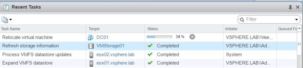 Storage vMotion is running to move VM data from Veeam datastore to production Datastore